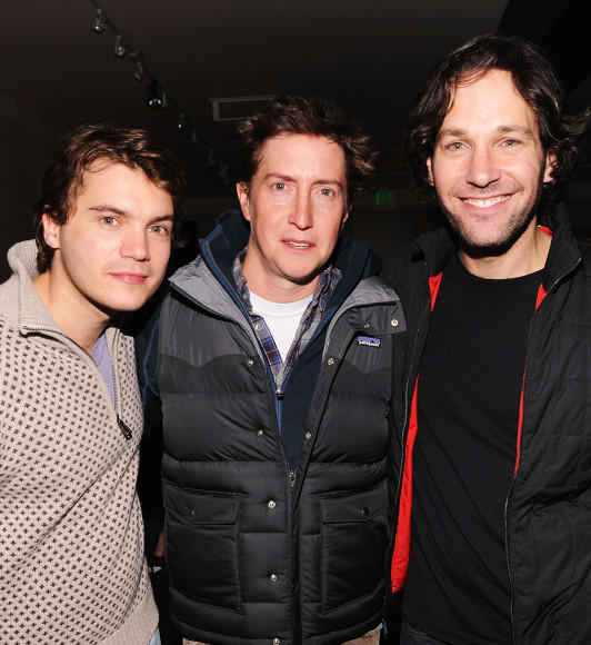 "Emile Hirsch, David Gordon Green and Paul Rudd attend the Grey Goose Blue Door ""Prince Avalanche"" Cocktail Party at Sundance 2013."