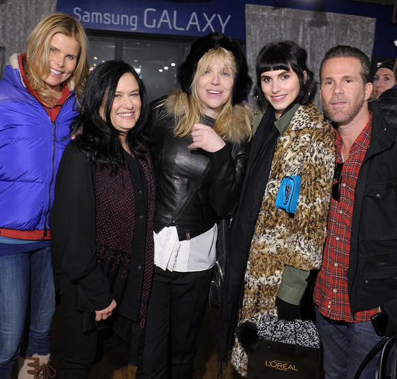 Sundance Film Festival 2013 celebrity sightings: Mariel Hemingway, filmmaker Barbara Kopple, Courtney Love, Langley Hemingway and Scott Lipps check out the Samsung Galaxy Lounge at Sundance 2013.