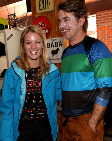 Ashley Hinshaw and Dermot Mulroney attend Burton Learn To Ride at Sundance 2013.