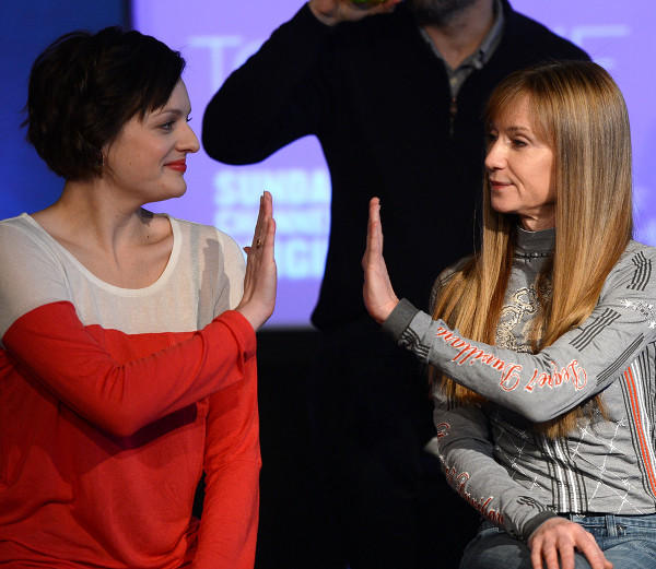 Elisabeth Moss and Holly Hunter attend the press conference for Sundance Channel original series 'Top of the Lake.'