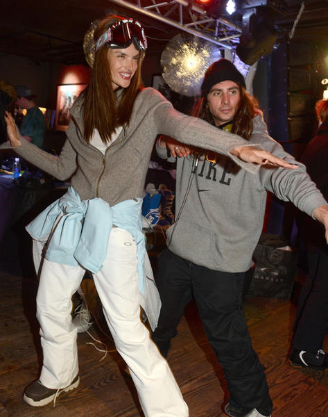 Sundance Film Festival 2013 celebrity sightings: Alessandra Ambrosio snowboards with professional team rider Danny Kass at the Oakley Learn To Ride In Collaboration With New Era at Sundance 2013.