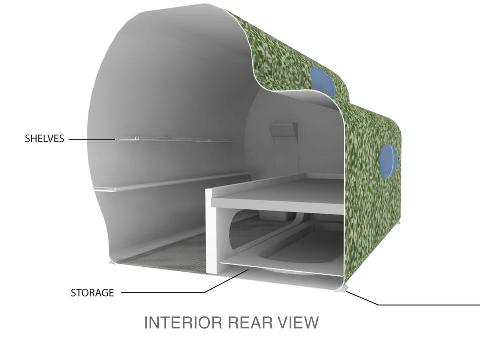 The 6-by-8-foot stackable pods, molded from poly-resin fiberglass, will come pre-assembled.
