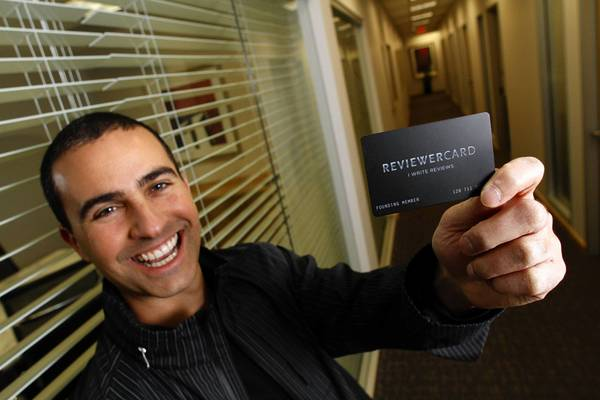 "Brad Newman, founder of Reviewer Card, says showing the card to a business is not a threat that the holder will write a bad review. ""It's a way to get the service you deserve."""