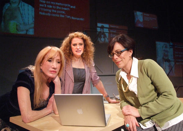 "Diane Cary, left, Sharon Sharth and Jane Kaczmarek peruse dating-site profiles in ""The Snake Can."""