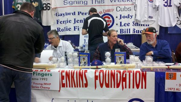 "Signing at the table adjacent to Jenkins were Hall of Famers Rollie Fingers and Gaylord Perry, along with former outfielder Jay Johnstone and former Cub Jody Davis. Pictured here are Fingers, Johnstone and Perry.<br><br>   Throughout the day, a man stood by the table announcing to fans ""Three Hall of Famers are signing behind me,"" in reference to Jenkins, Fingers and Perry. But Johnstone is full of great stories too; he played 20 seasons with nine teams, including stints with the White Sox and Cubs, while winning championships with the 1978 Yankees and the 1981 Dodgers."