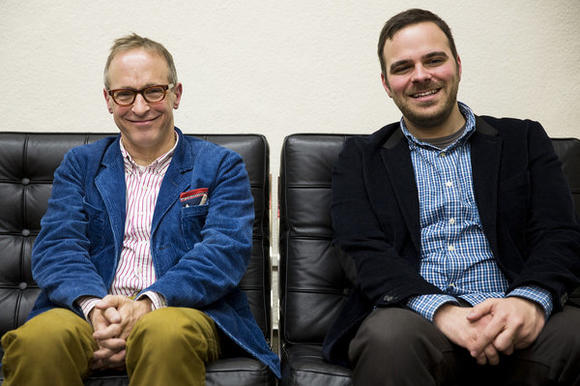 "David Sedaris, left, and director Kyle Patrick Alvarez at the Sundance Film Festival after the premiere of ""C.O.G."""