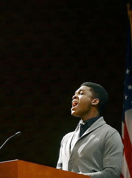 Matthew Murray, 17, sings at the Martin Luther King Jr. Diversity Celebration held at the Kepler Theater on the HCC campus