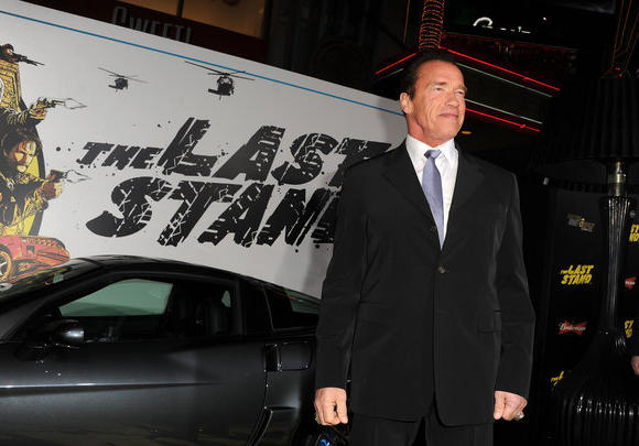 "Arnold Schwarzenegger at the Hollywood premiere of ""The Last Stand."""