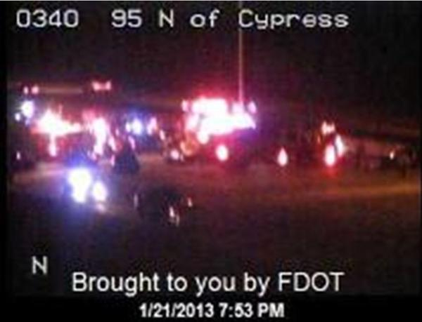 Traffic is gridlocked on southbound Interstate 95 near Pompano Beach following multi-vehicle collisions