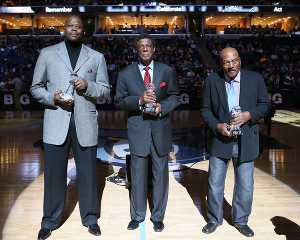 Patrick Ewing , Elgin Baylor and Jim Brown are honored with the National Civil Rights Sports Legacy award during halftime of the game between the Memphis Grizzlies and the Indiana Pacers at the FedEx Forum.