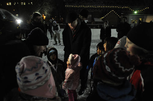 Hartford Mayor Pedro Segarra, center, hosted the graduation of Hartford area children, seen here, from the ¿WinterFest Learn to Skate¿ program at Bushnell Park Monday night.