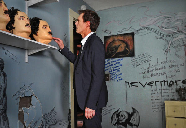 "Kevin Bacon with Edgar Allan Poe masks in ""The Following."""