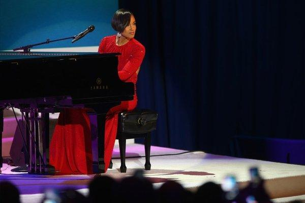 """Obama's on fire,"" Keys sang at the inaugural ball."