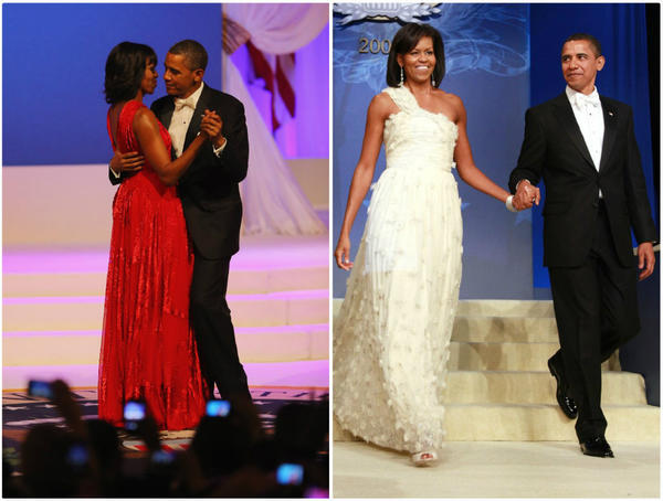 Michelle Obama wears a ruby Jason Wu gown at the 2013 Inaugural Ball (at left with President Obama); the first lady's second dance with the designer, who designed her 2009 gown (at right) as well.
