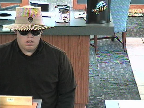 "Security footage of the ""Ray Bandit"" during a robbery in Janesville, Wisc. on Aug. 23, 2012."
