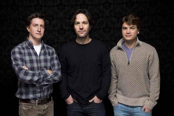 "David Gordon Green, left, director of ""Prince Avalanche,"" with stars Paul Rudd and Emile Hirsch at the Sundance Film Festival."