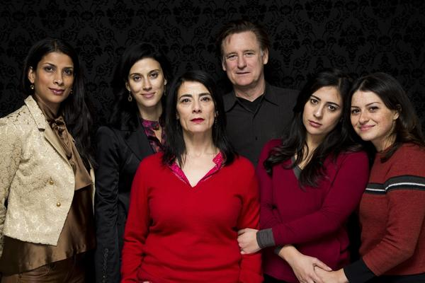 "Ritu Singhe Pande, left, Cherien Dabis, Hiam Abbass, Bill Pullman, Nadine Malouf and Alia Shawkat of the film ""May in the Summer."""