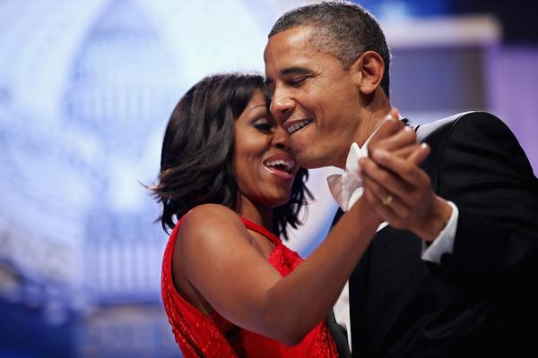 President Obama and First Lady Michelle Obama sing together while dancing at the Inaugural Ball at the Walter E. Washington Convention Center in Washington.