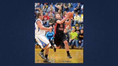 Conemaugh Township's Jeff Callihan drives past Shanksville's Carter Slade Monday night.