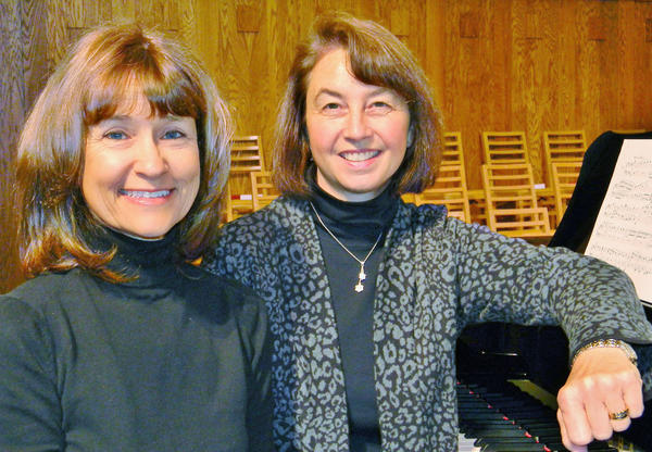 Local pianists Robin McCarty (left) and Michelle Mitchum will perform a Bach suite for piano four hands at the Great Lakes Chamber Orchestra Sunday Series recital in Harbor Springs.