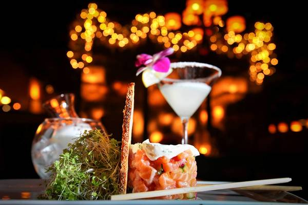 Salmon tartare and lemon meringue martini during the new happy hour at Grateful Palate in Fort Lauderdale.
