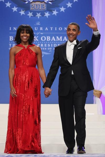 Michelle Obama wears a Jason Wu gown as she and President Obama arrive at the Commander-in-Chief's Inaugural Ball on Monday.