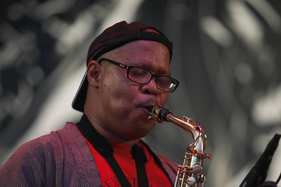 Steve Coleman and Five Elements performing in the Chicago Jazz Festival at Petrillo Music Shell in 2012.