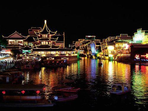 Night view of Qinhuai River with the Nanking Confucian Temple in Nanjing, China.