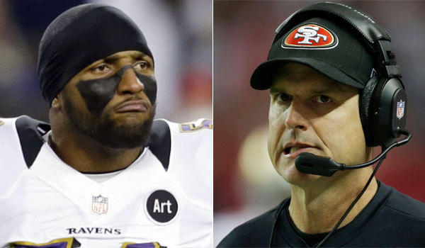 Baltimore Ravens linebacker Ray Lewis, left, registered his first NFL sack against Jim Harbaugh in 1996, when the current San Francisco 49ers coach was quarterback for the Indianapolis Colts.
