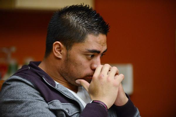 Manti Te'o during his interview with ESPN's Jeremy Schaap.