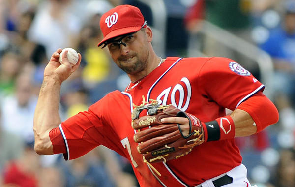 The former Nationals infielder signed a one-year, $750,000 deal with the Toronto Blue Jays with a team option for 2014.