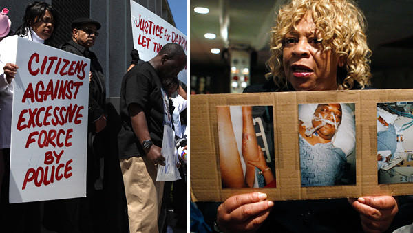 Gloria Carr, right, holds photos of her son Darrin Hanna, who died in 2011 after being in custody of the North Chicago Police Department. At left, people protest the death of Hanna at North Chicago City Hall in 2012.