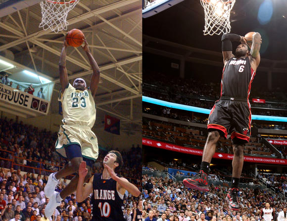 LeBron James in 2002 (at left) and in 2012.