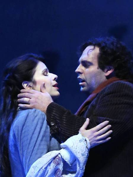 "Dimitri Pittas as Rodolfo, right, and Ana Maria Martinez as Mimi during the dress rehearsal of ""La Bohme"" at the Lyric Opera of Chicago."