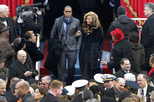 Jay-Z and Beyonce arrive for the presidential inauguration on the West Front of the U.S. Capitol in Washington January 21, 2013.