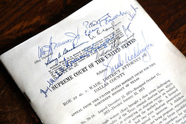 Sarah Weddington successfully argued the Roe v. Wade case before the U.S. Supreme Court in 1973. has a bound copy of the decision signed by the nine justices of the U.S. Supreme Court that is shown at her office in Austin, Texas, on January 14, 2013.