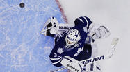 Toronto Maple Leafs' Ben Scrivens makes a save on the Buffalo Sabres