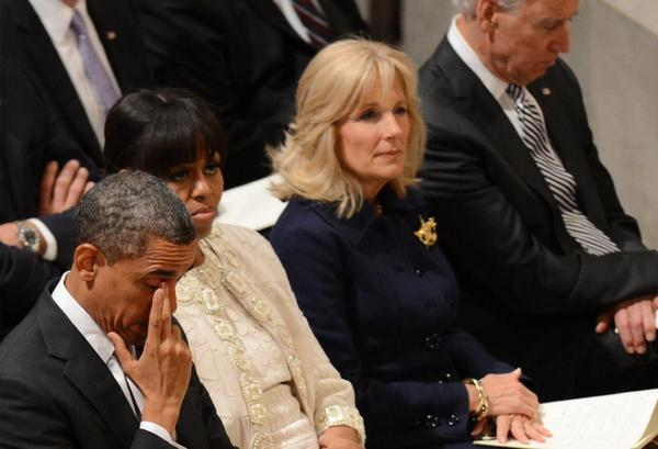 Jill Biden, second from right, sits with her husband, Vice President Joe Biden, and with President Obama and First Lady Michelle Obama at Washington National Cathedral on Tuesday.
