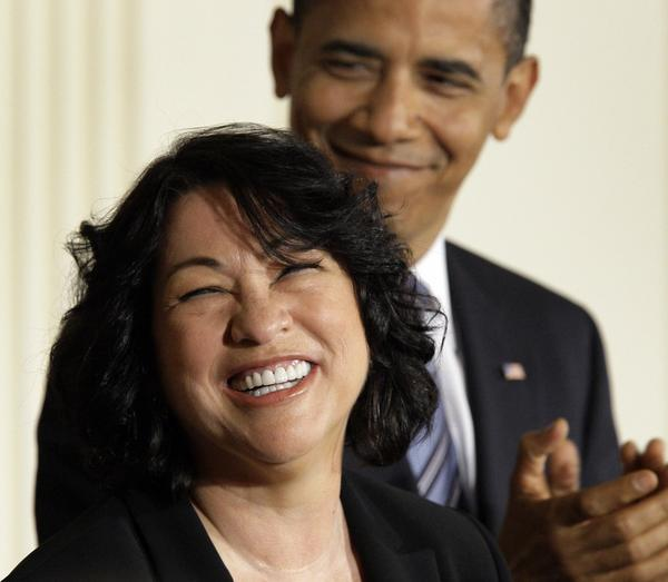 Supreme Court Justice Sonia Sotomayor, with President Obama.