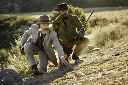 Bounty hunters Dr. King Schultz (Christoph Waltz) and Django (Jamie Foxx) use a Sharps rifle, according IMFDB.org.