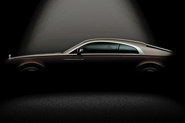 This teaser image shows the Rolls-Royce Wraith, a two-door coupe that will premiere at the Geneva Motor Show in March.
