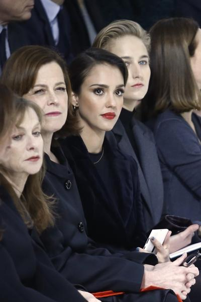 From left, French actress Isabelle Huppert, American actresses Sigourney Weaver, Jessica Alba and Leelee Sobieski at the Christian Dior Haute Couture Spring-Summer 2013 show in Paris.