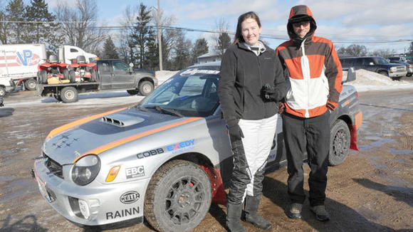 Driver Christy Carlson and co-driver Adam Kneipp geared up for last year¿s Sno*Drift Rally during the start of the event in Lewiston.
