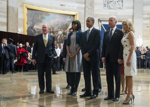 Sen. Lamar Alexander and Rep. Eric Cantor join the Obamas and Bidens in paying their respects at a Martin Luther King Jr. statue in the Capitol rotunda.