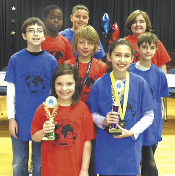 Salem Avenue Elementary's geography bee finalists are, front row, from left, Ryleigh Stine (runner-up) and Katlin Salcutan (first-place winner). Second row, Riley Parker, Corey Wilt and Dylan Johnson. Third row, Emi Erekosima, Dylan Moats and Kaylee Oyler. Not pictured are Jade Stewart and Ivan Ramirez.