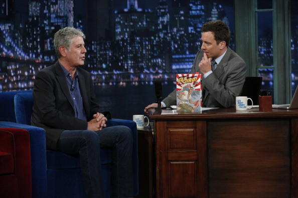(l-r) Anthony Bourdain, Jimmy Fallon