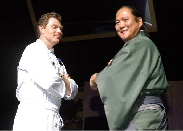 Bobby Flay and Masaharu Morimoto during The 2nd Annual Women In Wine Benefit for the Borgata Heart and Soul Foundation - Iron Chef Cookoff - November 11, 2006 at The Borgata Hotel and Casino in Atlantic City, New Jersey, United States.