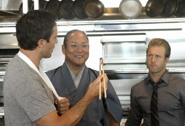Chef Masaharu Morimoto on 'Hawaii Five-0' with Alex O'Loughlin (left) and Scott Caan (right)
