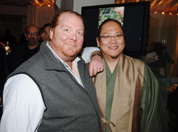 Mario Batali and Masaharu Morimoto during Gourmet Magazine's 65th Anniversary Party With a First Look at Morimoto New York in New York City, New York, United States.