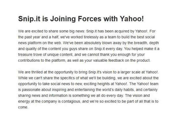 Snip.it announced its acquisition by Yahoo on its website Tuesday.